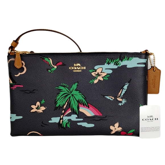 Coach Scenic Hawaiian Tropical Large Wristlet Bag